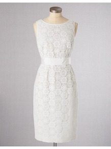 Lace Dress - style: shift; neckline: round neck; fit: fitted at waist; pattern: plain; sleeve style: sleeveless; predominant colour: white; length: just above the knee; fibres: cotton - 100%; occasions: occasion; waist detail: narrow waistband; sleeve length: sleeveless; texture group: lace; pattern type: fabric; pattern size: standard