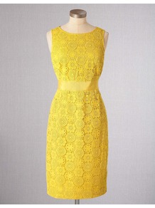 Lace Dress - style: shift; neckline: round neck; fit: fitted at waist; pattern: plain; sleeve style: sleeveless; predominant colour: yellow; length: just above the knee; fibres: cotton - 100%; occasions: occasion; waist detail: narrow waistband; sleeve length: sleeveless; texture group: lace; trends: fluorescent; pattern type: fabric; pattern size: standard