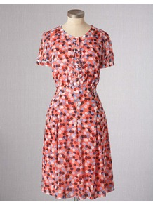 Summer Tea Dress - style: tea dress; neckline: round neck; sleeve style: puffed; fit: fitted at waist; pattern: plain; waist detail: fitted waist; bust detail: buttons at bust (in middle at breastbone)/zip detail at bust; occasions: casual; length: on the knee; fibres: viscose/rayon - 100%; hip detail: structured pleats at hip; predominant colour: multicoloured; sleeve length: short sleeve; trends: statement prints; pattern type: fabric; pattern size: standard; texture group: woven light midweight