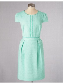 Clara Dress - style: shirt; neckline: round neck; sleeve style: capped; fit: fitted at waist; pattern: plain; bust detail: added detail/embellishment at bust; predominant colour: mint green; occasions: casual; length: just above the knee; fibres: cotton - mix; hip detail: sculpting darts/pleats/seams at hip; waist detail: narrow waistband; sleeve length: short sleeve; trends: glamorous day shifts; pattern type: fabric; pattern size: standard; texture group: other - light to midweight; embellishment: embroidered