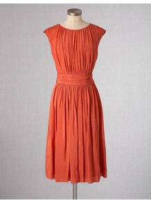 Selina Dress - neckline: round neck; sleeve style: capped; fit: fitted at waist; pattern: plain; style: blouson; waist detail: fitted waist; bust detail: ruching/gathering/draping/layers/pintuck pleats at bust; predominant colour: terracotta; occasions: casual; length: just above the knee; hip detail: structured pleats at hip; sleeve length: sleeveless; pattern type: fabric; texture group: other - light to midweight; fibres: viscose/rayon - mix