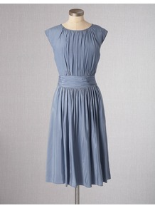 Selina Dress - style: shift; neckline: round neck; fit: fitted at waist; pattern: plain; sleeve style: sleeveless; waist detail: twist front waist detail/nipped in at waist on one side/soft pleats/draping/ruching/gathering waist detail; bust detail: ruching/gathering/draping/layers/pintuck pleats at bust; predominant colour: pale blue; occasions: casual, evening, holiday; length: just above the knee; fibres: polyester/polyamide - 100%; hip detail: soft pleats at hip/draping at hip/flared at hip; sleeve length: sleeveless; texture group: cotton feel fabrics; trends: glamorous day shifts; pattern type: fabric