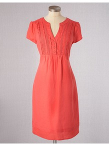 Pintuck Summer Dress - style: shift; neckline: low v-neck; fit: fitted at waist; pattern: plain; bust detail: buttons at bust (in middle at breastbone)/zip detail at bust; predominant colour: coral; occasions: casual, holiday; length: just above the knee; fibres: linen - 100%; shoulder detail: flat/draping pleats/ruching/gathering at shoulder; sleeve length: short sleeve; sleeve style: standard; texture group: linen; pattern type: fabric; pattern size: standard