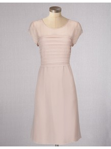 Evelina Dress - style: shift; neckline: round neck; fit: tailored/fitted; pattern: plain; bust detail: ruching/gathering/draping/layers/pintuck pleats at bust; predominant colour: blush; occasions: evening, work, occasion; length: just above the knee; fibres: viscose/rayon - 100%; sleeve length: short sleeve; sleeve style: standard; texture group: silky - light; trends: glamorous day shifts; pattern type: fabric; pattern size: standard