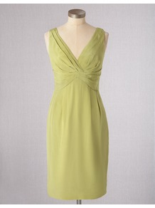 Silk Sassy Dress - style: shift; neckline: low v-neck; fit: empire; pattern: plain; sleeve style: sleeveless; bust detail: ruching/gathering/draping/layers/pintuck pleats at bust; predominant colour: lime; occasions: evening, occasion; length: on the knee; fibres: silk - 100%; sleeve length: sleeveless; texture group: silky - light; trends: glamorous day shifts; pattern type: fabric; pattern size: standard