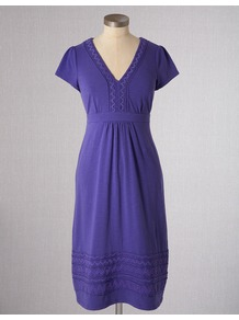 Fun Summer Dress - neckline: low v-neck; fit: empire; pattern: plain; style: sundress; predominant colour: indigo; occasions: casual, holiday; length: just above the knee; fibres: cotton - stretch; sleeve length: short sleeve; sleeve style: standard; texture group: crepes; pattern type: fabric; pattern size: standard; embellishment: embroidered