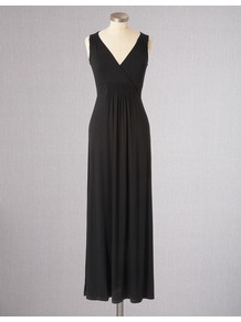 Jersey Maxi Dress - neckline: low v-neck; fit: empire; pattern: plain; sleeve style: sleeveless; style: maxi dress; length: ankle length; waist detail: twist front waist detail/nipped in at waist on one side/soft pleats/draping/ruching/gathering waist detail; predominant colour: black; occasions: casual, holiday; fibres: polyester/polyamide - stretch; sleeve length: sleeveless; texture group: jersey - stretchy/drapey