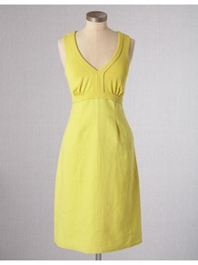 Linen & Jersey Dress - style: shift; neckline: low v-neck; fit: fitted at waist; pattern: plain; sleeve style: sleeveless; waist detail: fitted waist; bust detail: ruching/gathering/draping/layers/pintuck pleats at bust; predominant colour: yellow; occasions: casual; length: just above the knee; fibres: polyester/polyamide - mix; sleeve length: sleeveless; pattern type: fabric; texture group: jersey - stretchy/drapey