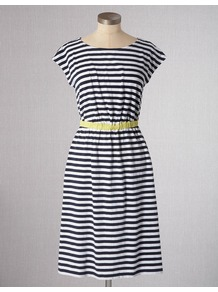 Newquay Dress - style: shift; neckline: round neck; sleeve style: capped; pattern: horizontal stripes; waist detail: elasticated waist; predominant colour: navy; occasions: casual, holiday; length: just above the knee; fit: body skimming; fibres: cotton - stretch; sleeve length: short sleeve; pattern type: fabric; pattern size: standard; texture group: jersey - stretchy/drapey
