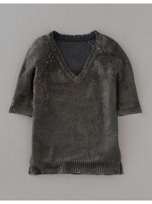 Gauzy Linen Jumper - neckline: v-neck; pattern: plain; style: standard; predominant colour: charcoal; occasions: casual, work; length: standard; fibres: linen - 100%; fit: standard fit; sleeve length: half sleeve; sleeve style: standard; texture group: knits/crochet; trends: metallics; pattern type: knitted - other; pattern size: standard