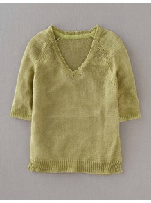 Gauzy Linen Jumper - neckline: v-neck; pattern: plain; style: standard; predominant colour: lime; occasions: casual; length: standard; fibres: linen - 100%; fit: standard fit; sleeve length: half sleeve; sleeve style: standard; texture group: knits/crochet; trends: fluorescent; pattern type: knitted - other; pattern size: standard