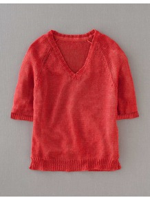 Gauzy Linen Jumper - neckline: v-neck; pattern: plain; style: standard; predominant colour: coral; occasions: casual; length: standard; fibres: linen - 100%; fit: standard fit; sleeve length: half sleeve; sleeve style: standard; texture group: knits/crochet; pattern type: knitted - other; pattern size: standard