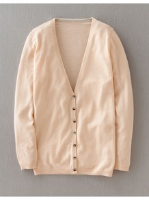 Fine Cashmere V Neck Cardigan - neckline: low v-neck; pattern: plain; length: below the bottom; predominant colour: nude; occasions: casual, work; style: standard; fit: slim fit; fibres: cashmere - 100%; sleeve length: long sleeve; sleeve style: standard; texture group: knits/crochet; pattern type: knitted - fine stitch; pattern size: standard