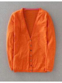 Fine Cashmere V Neck Cardigan - neckline: low v-neck; pattern: plain; length: below the bottom; predominant colour: bright orange; occasions: casual; style: standard; fit: slim fit; fibres: cashmere - 100%; sleeve length: long sleeve; sleeve style: standard; texture group: knits/crochet; trends: fluorescent; pattern type: knitted - fine stitch; pattern size: standard
