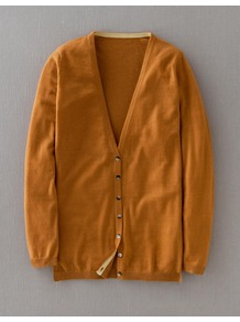 Fine Cashmere V Neck Cardigan - neckline: low v-neck; pattern: plain; predominant colour: mustard; occasions: casual; length: standard; style: standard; fit: standard fit; fibres: cashmere - 100%; sleeve length: long sleeve; sleeve style: standard; texture group: knits/crochet; pattern type: knitted - fine stitch; pattern size: standard