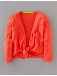 Tie Front Cardigan - neckline: plunge; pattern: plain; style: bolero/shrug; length: cropped; predominant colour: coral; occasions: casual, holiday; fibres: cotton - mix; fit: slim fit; sleeve length: 3/4 length; sleeve style: standard; texture group: knits/crochet; trends: fluorescent; pattern type: fabric; pattern size: standard