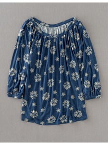 Bloomsbury Top - length: below the bottom; sleeve style: balloon; bust detail: ruching/gathering/draping/layers/pintuck pleats at bust; predominant colour: navy; occasions: casual, holiday; neckline: scoop; fibres: viscose/rayon - 100%; fit: loose; style: gypsy/peasant; sleeve length: 3/4 length; texture group: cotton feel fabrics; pattern type: fabric; pattern size: big & busy; pattern: patterned/print
