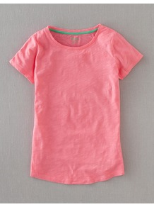 Lightweight Crewneck - neckline: round neck; pattern: plain; style: t-shirt; predominant colour: pink; occasions: casual; length: standard; fibres: cotton - 100%; fit: straight cut; sleeve length: short sleeve; sleeve style: standard; texture group: cotton feel fabrics; pattern type: fabric; pattern size: standard