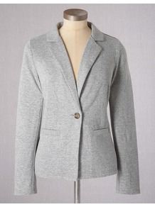 Summer Jersey Blazer - pattern: plain; style: single breasted blazer; collar: standard lapel/rever collar; predominant colour: light grey; occasions: casual; length: standard; fit: tailored/fitted; fibres: cotton - stretch; sleeve length: long sleeve; sleeve style: standard; collar break: low/open; pattern type: fabric; texture group: jersey - stretchy/drapey