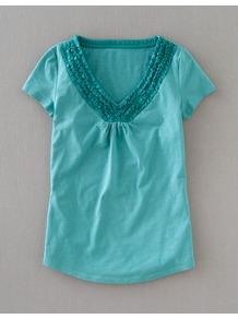 Penzance Tee - neckline: v-neck; pattern: plain; style: t-shirt; bust detail: ruching/gathering/draping/layers/pintuck pleats at bust; predominant colour: turquoise; occasions: casual, work, holiday; length: standard; fibres: cotton - 100%; fit: straight cut; sleeve length: short sleeve; sleeve style: standard; pattern type: fabric; pattern size: standard; texture group: jersey - stretchy/drapey