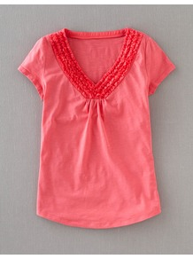 Penzance Tee - neckline: v-neck; sleeve style: capped; pattern: plain; style: t-shirt; bust detail: ruching/gathering/draping/layers/pintuck pleats at bust; predominant colour: pink; occasions: casual; length: standard; fibres: cotton - 100%; fit: straight cut; sleeve length: short sleeve; pattern type: fabric; pattern size: standard; texture group: jersey - stretchy/drapey