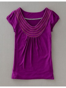 Stitch Detail Tee - neckline: v-neck; sleeve style: capped; pattern: plain; bust detail: added detail/embellishment at bust; style: t-shirt; predominant colour: purple; occasions: casual; length: standard; fibres: viscose/rayon - 100%; fit: body skimming; sleeve length: short sleeve; texture group: jersey - stretchy/drapey; embellishment: embroidered