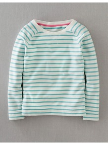 Breton Sweatshirt - neckline: round neck; pattern: horizontal stripes; style: t-shirt; shoulder detail: contrast pattern/fabric at shoulder; secondary colour: white; predominant colour: emerald green; occasions: casual, holiday; length: standard; fibres: cotton - 100%; fit: straight cut; sleeve length: long sleeve; sleeve style: standard; texture group: cotton feel fabrics; pattern type: fabric; pattern size: big &amp; busy