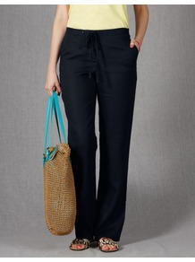 Drawstring Linen Trousers - length: standard; pattern: plain; pocket detail: pockets at the sides; waist: mid/regular rise; predominant colour: black; occasions: casual, holiday; fibres: linen - 100%; texture group: linen; fit: straight leg; pattern type: fabric; style: standard