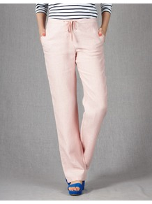 Drawstring Linen Trousers - length: standard; pattern: plain; pocket detail: pockets at the sides; waist detail: belted waist/tie at waist/drawstring; waist: mid/regular rise; predominant colour: blush; occasions: casual, holiday; fibres: linen - 100%; hip detail: fitted at hip (bottoms); texture group: linen; fit: wide leg; pattern type: fabric; pattern size: standard; style: standard