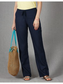 Drawstring Linen Trousers - length: standard; pattern: plain; waist detail: belted waist/tie at waist/drawstring; waist: mid/regular rise; predominant colour: navy; occasions: casual, holiday; fibres: linen - 100%; texture group: linen; fit: wide leg; pattern type: fabric; pattern size: standard; style: standard