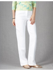 Drawstring Linen Trousers - length: standard; pattern: plain; waist: mid/regular rise; predominant colour: white; occasions: casual; fibres: linen - 100%; texture group: linen; fit: straight leg; pattern type: fabric; style: standard