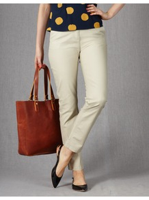 Ankle Skimmer Chinos - pattern: plain; waist detail: fitted waist; pocket detail: small back pockets, pockets at the sides; waist: mid/regular rise; predominant colour: stone; occasions: casual, holiday; length: ankle length; style: chino; fibres: cotton - stretch; hip detail: fitted at hip (bottoms); texture group: cotton feel fabrics; fit: slim leg; pattern type: fabric
