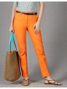 Ankle Skimmer Chinos - pattern: plain; waist: mid/regular rise; predominant colour: bright orange; occasions: casual, holiday; length: ankle length; style: chino; fibres: cotton - stretch; texture group: cotton feel fabrics; fit: slim leg; pattern type: fabric