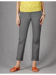 Ankle Skimmer Chinos - pattern: plain; waist: mid/regular rise; predominant colour: mid grey; occasions: casual, work; length: ankle length; style: chino; fibres: cotton - stretch; jeans &amp; bottoms detail: turn ups; texture group: cotton feel fabrics; fit: slim leg; pattern type: fabric