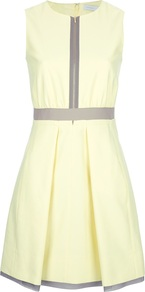 Zip Through Dress - pattern: plain; sleeve style: sleeveless; bust detail: buttons at bust (in middle at breastbone)/zip detail at bust; predominant colour: primrose yellow; occasions: evening, work, holiday; length: just above the knee; fit: fitted at waist &amp; bust; style: fit &amp; flare; fibres: cotton - mix; neckline: crew; hip detail: structured pleats at hip; waist detail: narrow waistband; sleeve length: sleeveless; trends: glamorous day shifts, volume; pattern type: fabric; pattern size: standard; texture group: woven light midweight