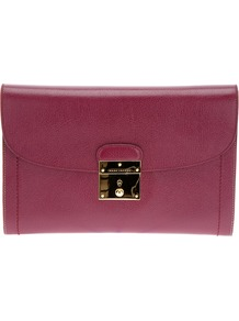 'Isobel' Clutch - predominant colour: burgundy; occasions: casual, evening, occasion; type of pattern: standard; style: clutch; length: hand carry; size: standard; material: leather; pattern: plain; finish: plain