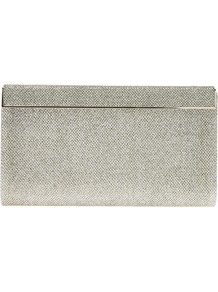 &#x27;Cayla&#x27; Metallic Clutch - predominant colour: silver; occasions: evening, occasion; type of pattern: standard; style: clutch; length: hand carry; size: small; material: fabric; pattern: plain; trends: metallics; finish: metallic