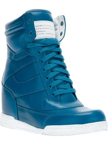 Wedge Trainer - predominant colour: diva blue; occasions: casual; material: leather; heel height: mid; heel: wedge; toe: round toe; boot length: ankle boot; style: high top; trends: sporty redux; finish: plain; pattern: plain