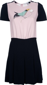 'Firetail' Dress - style: a-line; neckline: round neck; fit: fitted at waist; waist detail: fitted waist; shoulder detail: contrast pattern/fabric at shoulder; predominant colour: black; occasions: casual, evening, holiday; length: just above the knee; fibres: polyester/polyamide - 100%; hip detail: contrast fabric/print detail at hip; bust detail: contrast pattern/fabric/detail at bust; sleeve length: short sleeve; sleeve style: standard; pattern type: fabric; pattern size: small & light; pattern: colourblock; texture group: jersey - stretchy/drapey