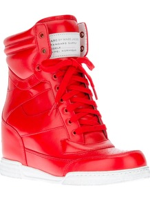 Wedge Trainer - predominant colour: true red; occasions: casual; material: leather; heel height: mid; heel: wedge; toe: round toe; boot length: ankle boot; style: high top; trends: sporty redux; finish: plain; pattern: plain