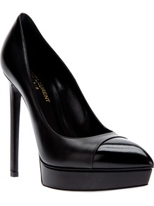 'Escarpin' Pump - predominant colour: black; occasions: evening, occasion; material: leather; heel: platform; toe: pointed toe; style: courts; finish: patent; pattern: plain; heel height: very high