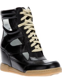 Wedge Trainer - predominant colour: black; occasions: casual; material: leather; heel height: mid; heel: wedge; toe: round toe; boot length: ankle boot; style: high top; trends: sporty redux; finish: plain; pattern: two-tone