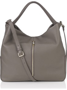 Brook Hobo - predominant colour: mid grey; occasions: casual, work, holiday; style: tote; length: shoulder (tucks under arm); size: oversized; material: leather; embellishment: zips; pattern: plain; finish: plain