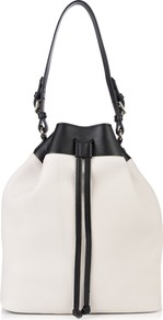 Crosby Bucket Bag - predominant colour: white; occasions: casual, work, holiday; type of pattern: small; style: shoulder; length: shoulder (tucks under arm); size: standard; material: leather; finish: plain; pattern: colourblock