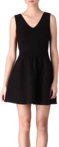 Dote Stretch Cotton Dress - length: mid thigh; neckline: low v-neck; pattern: plain; sleeve style: sleeveless; waist detail: fitted waist; predominant colour: black; occasions: evening, occasion; fit: fitted at waist &amp; bust; style: fit &amp; flare; fibres: cotton - stretch; sleeve length: sleeveless; trends: volume; pattern type: fabric; pattern size: standard; texture group: jersey - stretchy/drapey