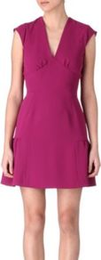 Rose Crepe Dress - style: shift; length: mid thigh; neckline: low v-neck; sleeve style: capped; pattern: plain; waist detail: wide waistband/cummerbund; predominant colour: pink; occasions: evening, occasion; fit: fitted at waist &amp; bust; fibres: polyester/polyamide - 100%; sleeve length: short sleeve; texture group: crepes; pattern type: fabric; pattern size: standard