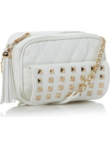 White Pritchet Studded Shoulder Bag - predominant colour: white; occasions: casual, evening; type of pattern: standard; style: shoulder; length: across body/long; size: small; material: faux leather; embellishment: studs; pattern: plain; finish: plain