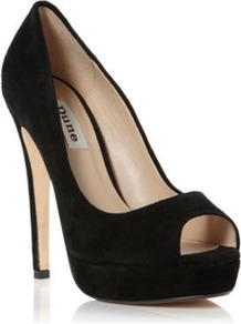 Black Suede Chamber High Heel Platform Peep Toe Court Shoe - predominant colour: black; occasions: evening, occasion; material: suede; heel height: high; heel: platform; toe: open toe/peeptoe; style: courts; finish: plain; pattern: plain