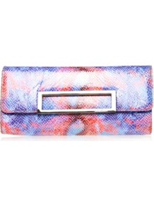 Abstract Fold Over - occasions: evening, occasion; predominant colour: multicoloured; type of pattern: standard; style: clutch; length: hand carry; size: small; material: faux fur; finish: metallic; pattern: patterned/print