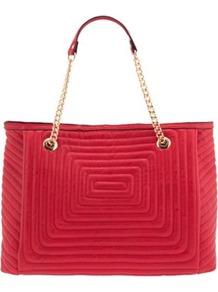 Red Labirynth Shopper - predominant colour: true red; occasions: casual, work, holiday; type of pattern: standard; style: tote; length: handle; size: standard; material: fabric; embellishment: quilted; pattern: plain; finish: plain
